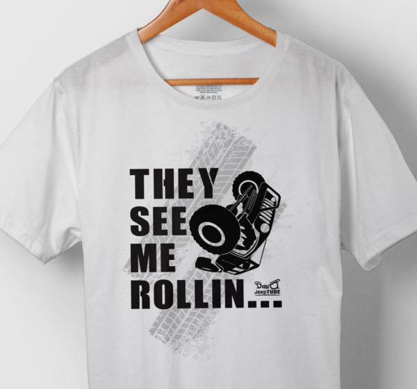 black jeep on white t-shirt saying they see me rollin... jeeptude
